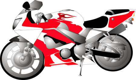 1000cc Motorcycle crotch rocket bike, in red, white and black..  Ready for a tour along the open highways.. isolated drawing. Vettoriali