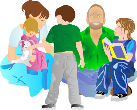 Kids with parents,sister reading, and brother offering his toy to his sister... Ilustração