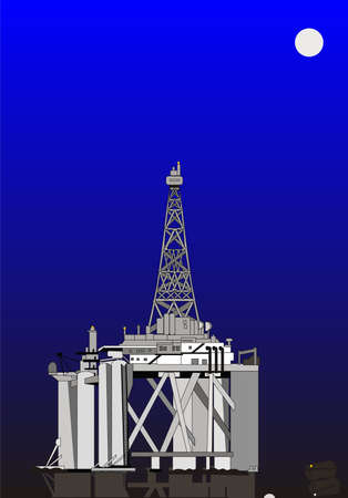 Oil rig lights up the sky... as a barge comes in with supplies.... under the light of a full moon.. Illustration
