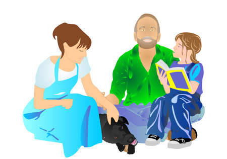 Child reading a book to her  parents, as the family black labrador chews on rawhide illustration...