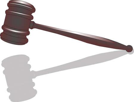 bid: Puja final para su venta o por la justicia. Ilustraci�n de martillo con reflexi�n