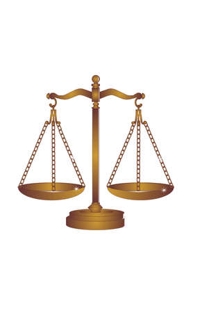 Copper or Bronze scales of justice weigh out all around