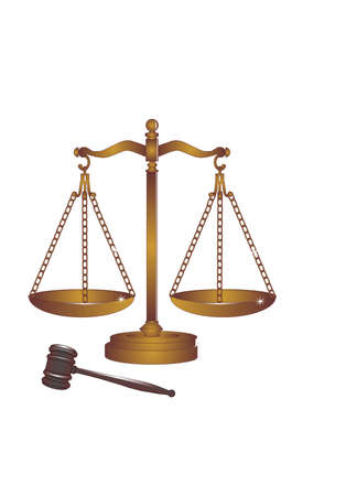 The weight of the scales of justice rest upon your head, decisions rendered, by the sound of the gavel.... Stock Illustratie