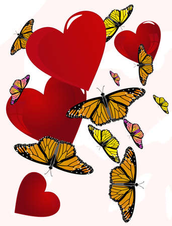 admired: Butterflies floating around hearts. Their affection is admired, as the float in and around the hearts, with a cut out background. Illustration