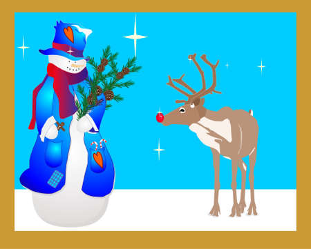Ms. Snowlady is looking at Rudolf, wondering if she wants a candy cane...With the stars shining so brightly in the sky