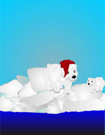 Two Polar bears on ice pack, one with a Santas hat on.. Vector