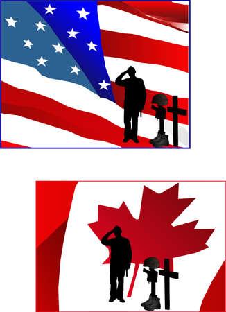 Un soldato permanente e salutare il monumento di un soldato caduto nel rispetto dei hisor suo amico perso.  In piedi davanti a un canadese e un Flag.Saluting americano alla unsung heroes.