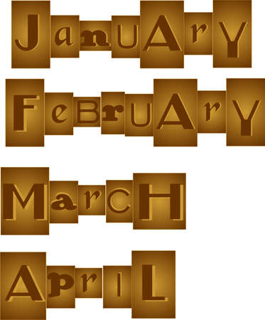 Set of Months, grouped in a bronze, like one would see in a randsom note. January, February, March, and April.  Great for scrapbooking and more.. Vector