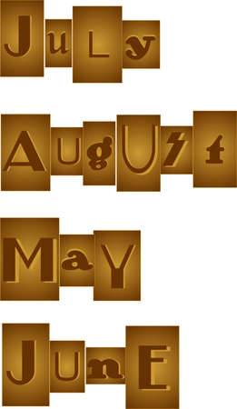 Set of Months, grouped in a bronze, like one would see in a randsom note.  July, August, May, and june. Great for scrapbooking and more.. Vector