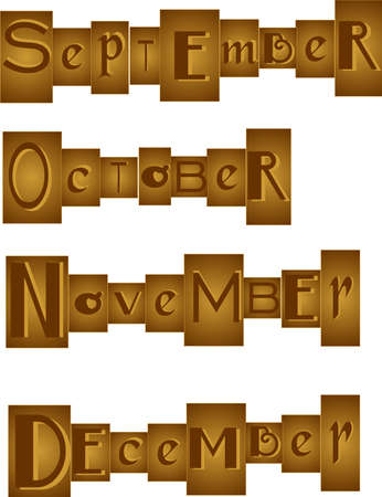 Set of Months, grouped in a bronze, like one would see in a randsom note. September, October, November and December.  Great for scrapbooking and more.. Stock Vector - 8547825