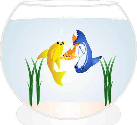 3 Colourful goldfish, playing in a fish bowl, with some weeds in it as well....