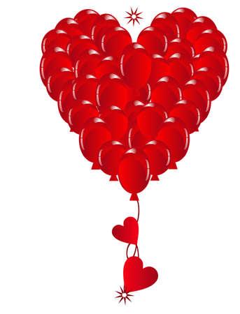 당신의 모든 사랑과 함께 당신이 소중히하는 것에 게주기 위해 마음을 형성하는 풍선의 그룹 .. 일러스트