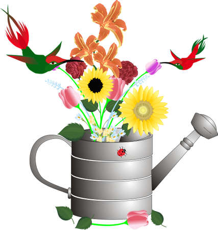 Two hummingbirds taking nectar out of the flowers in a watering can..