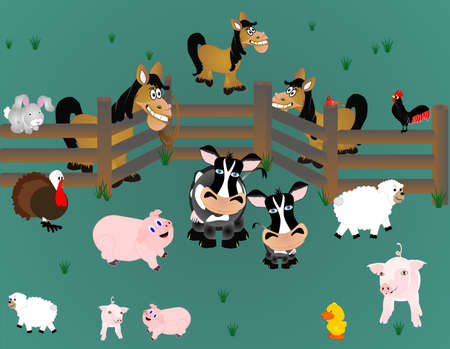 sow: Pigs, rooster,sheep, cows, cardinal, and horses out in pasture, with fencing...