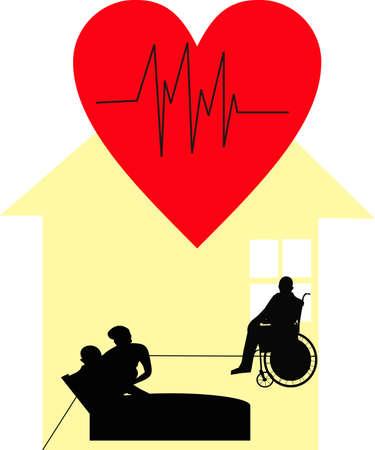 dignidad: Hospicio trabajador, en el cuidado del hogar, mostrando la dignidad a aquellos en la atenci�n de Pallative...Teniendo cuidado de esos cama montado y en sillas de ruedas, con amor, respeto, amabilidad y cuidado... Vectores
