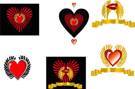 Hearts with wings and banners and also lips,in a set, for St. Valentines Day or a romantic usage. Vector