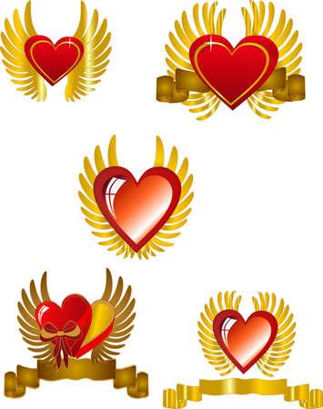 Harten met vleugels en banners, in een set, voor St. Valentijnsdag of een romantische gebruik. Stock Illustratie