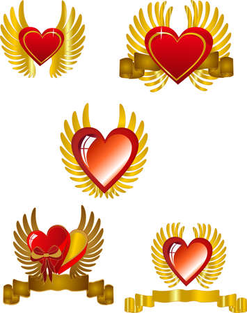 gold star: Hearts with wings and banners ,in a set, for St. Valentines Day or a romantic usage.