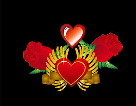 사랑과 발렌타인 데이를위한 많은 용도로 하트, 날개, 장미의 그래픽 디자인 ...