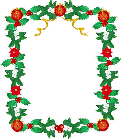 Lavishly garnished frame, with mistletoe, holly, poinsettia, and Xmas decorative balls.