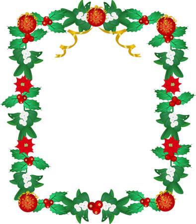 lavishly: Lavishly garnished frame, with mistletoe, holly, poinsettia, and Xmas decorative balls.