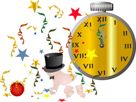 new year celebration: Bringing in the new year with the new Years Baby... Illustration