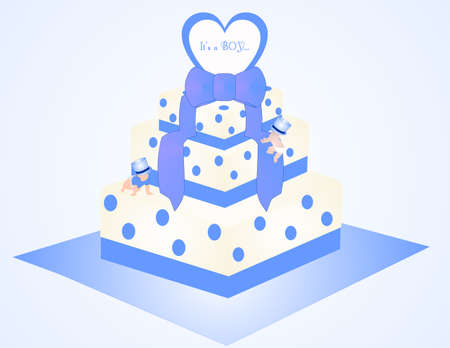 Baby shower or greeting cake for it is a Boy.  With blue dots and ribbon on it, with little boys climbing on cake.  Also has many more usages....