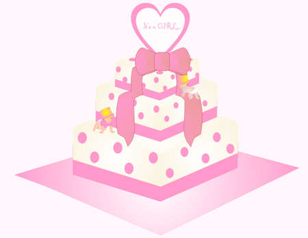 Baby shower or greeting cake for it is a Girl. With pink dots and ribbon on it, with little girls are on the cake. Also has many more usages