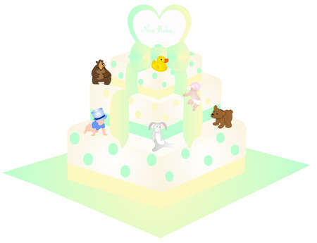 Baby shower or greeting cake for  your new baby.  With green and yellow dots and ribbon on it, with babies climbing on cake. Stuffed toys, bear, rabbit and duckie, also has many more usages....