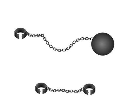 ligotage: Ball et cha�nes illustration ensemble...Boule de fer, cha�ne et entraves sur fond blanc Illustration