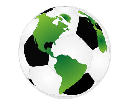 Soccer ball with world on it, representing world wide soccer or football... Иллюстрация