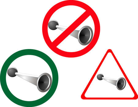 No horn blowing unless danger is present, also, Horn blowing allowed.. Illustration