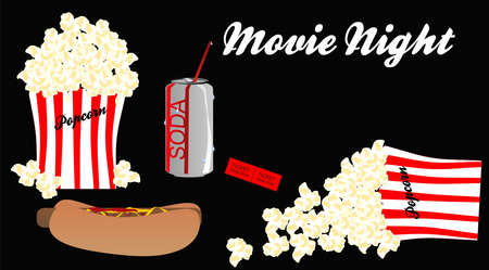 Going to the movie and having, a soda, popcorn, and hotdog, while watching show. Over black on the set. 일러스트