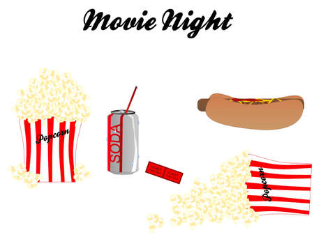 Going to the movie and having, a soda, popcorn, and hotdog, while watching show. Over white on the set.