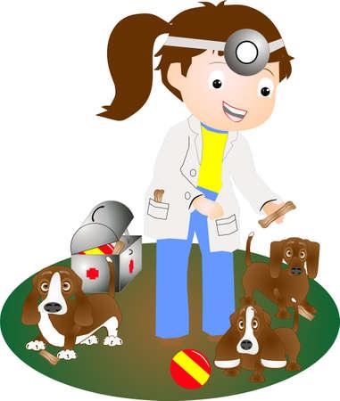 Mevrouw dierenarts die puppy's heeft gecontroleerd, geeft hen traktaties omdat ze zo goed zijn!