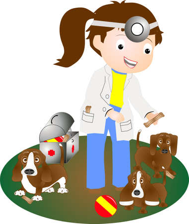 ms: Ms. Veterinarian having checked on puppies, is giving them treats for being so good!