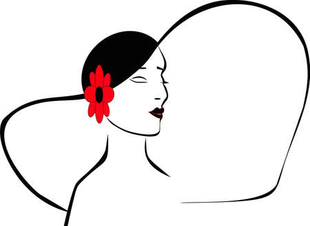 Silhouette of a ladies head with her hat on and red flower