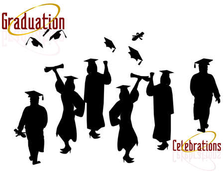 Group of Graduates Celebrating..., celebrating their achievements. Ilustracja