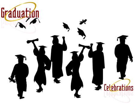 Grupo de graduados celebrar..., celebrar sus logros. Ilustración de vector