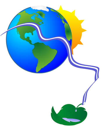 Sun coming up the back of the earth, with water flowing and a leaf catching the water, to renew it.. Иллюстрация