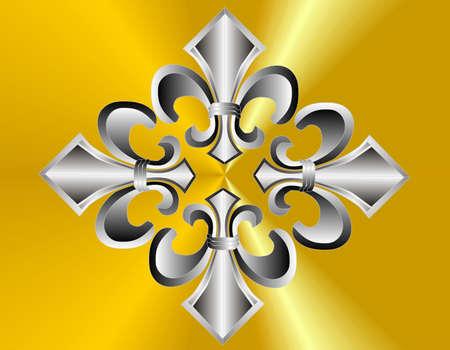 Group of 4 fluer de lis on golden background