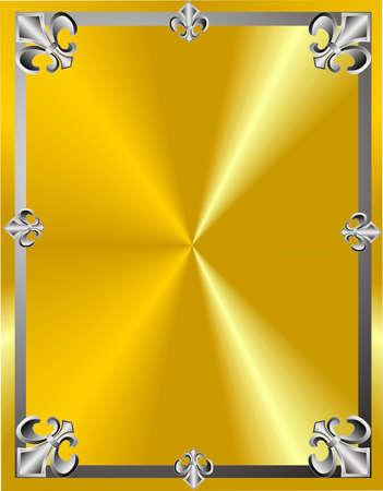 Fleur de lis in a frame design on gold background Illustration