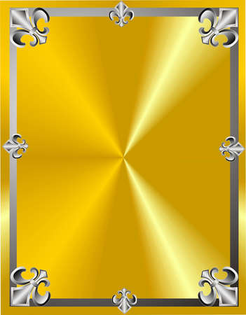 fleur: Fleur de lis in a frame design on gold background Illustration