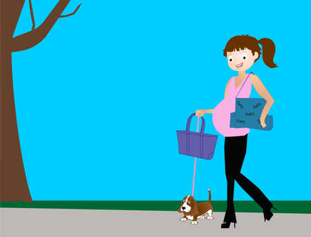 Mommy-to-be in stylish black and pink, carrying baby bags, and walking her dog, after a morning of baby shopping. Illustration