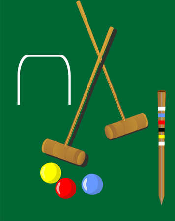 Croquet mallets and 3 balls,yellow, red, blue, with the wicket and peg... Stock Vector - 9476449