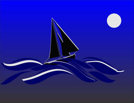 Cutter sailing in the night of a blue moon, taking the waves..