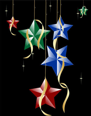 Star Bright, Starry night, many stars held up with pearls and ribbons adorning them in the dark sky..