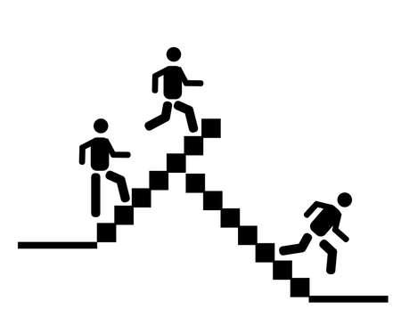 계단을 위아래로 걷는 실루엣.