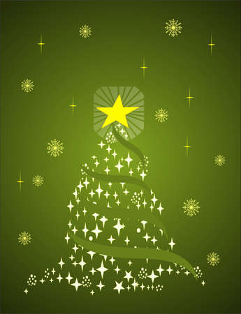 Christmas Tree formed from Stars  with snowflakes - Green christmas background illustration and vector Иллюстрация