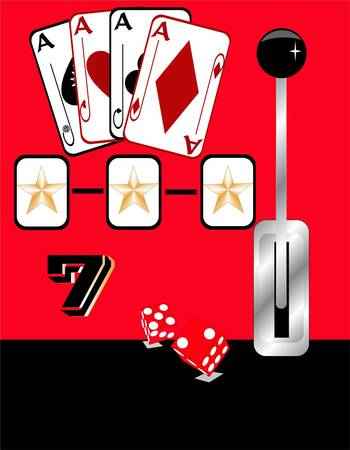 Illustration of gambling games with casino elements on a red and black background Vector